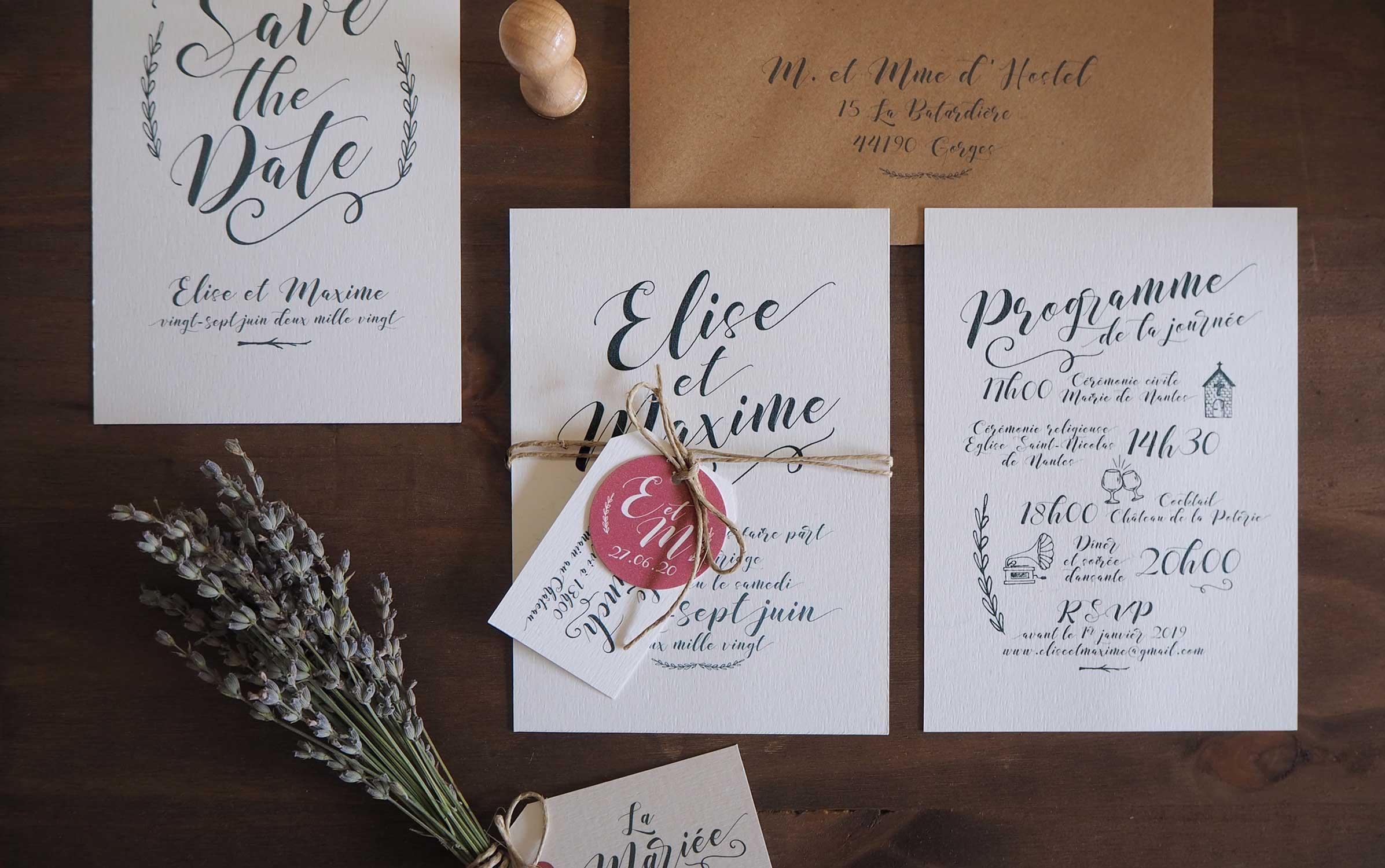 faire part mariage calligraphie nantes