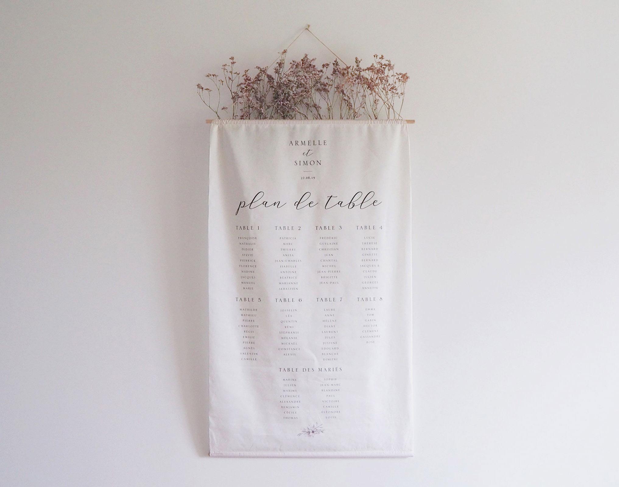 plan de tables tissu mariage