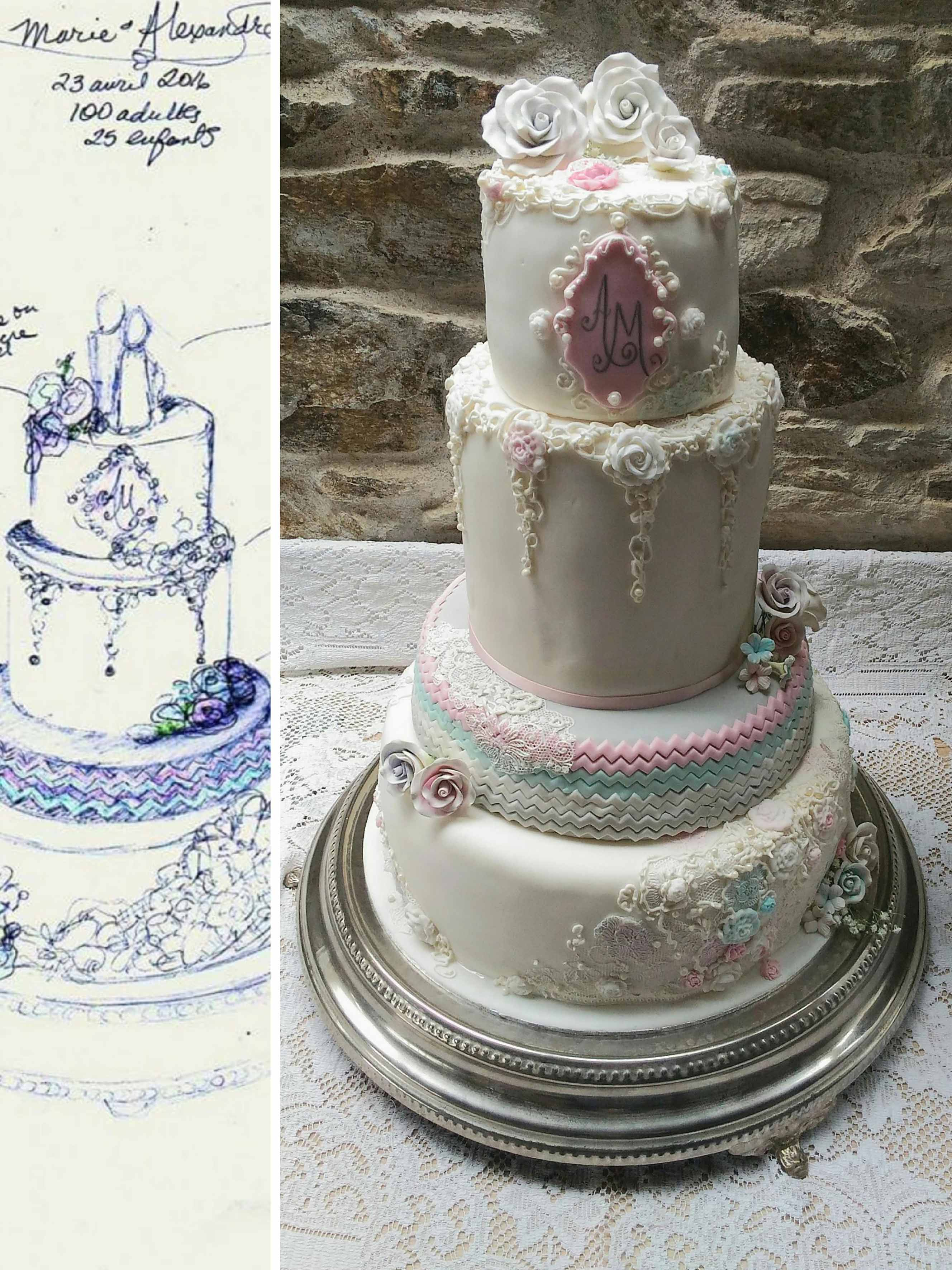 Gateau de mariage Nantes wedding cake