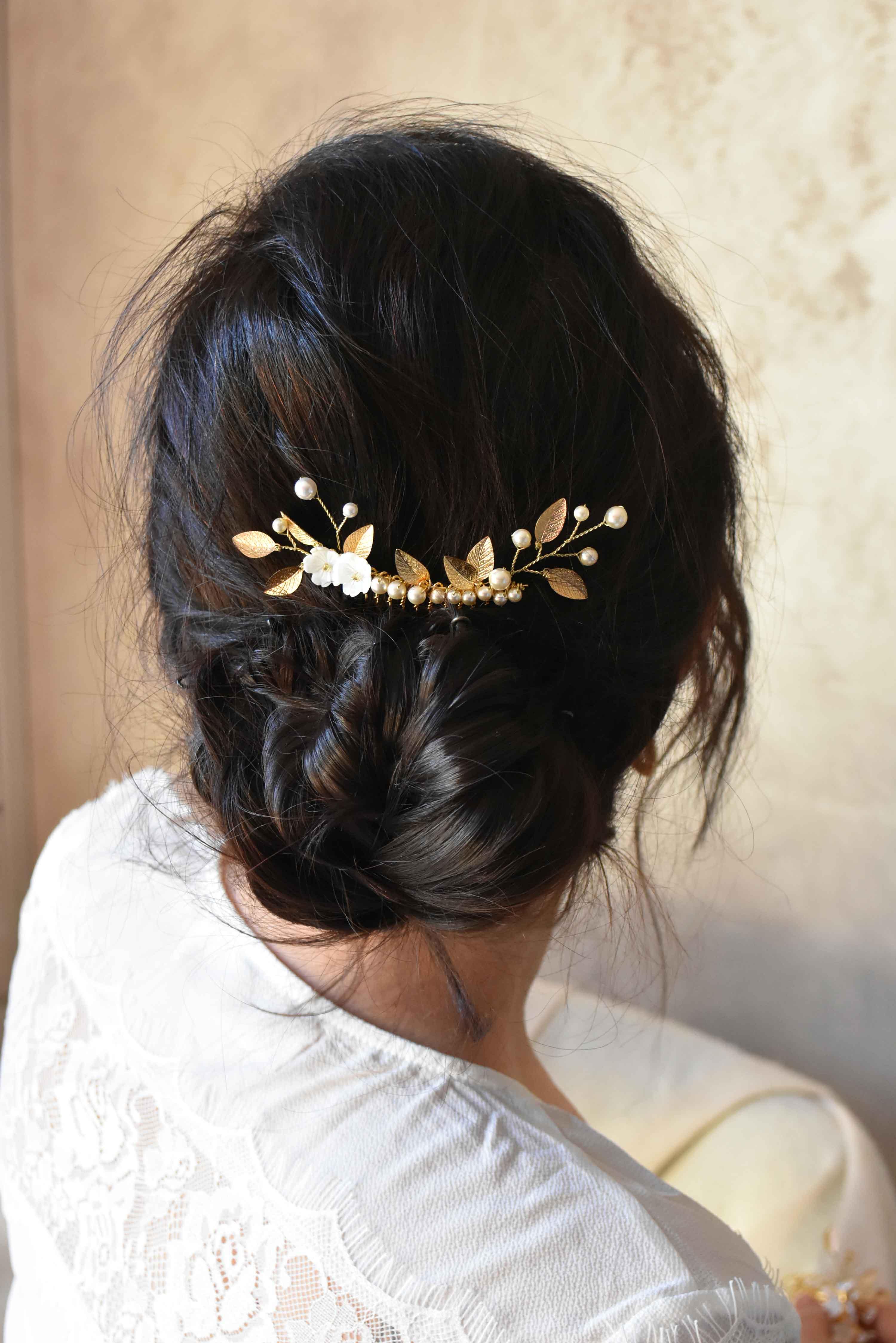 peigne cheveux lilas bijoux mariage feuilles et perles Maine et loire