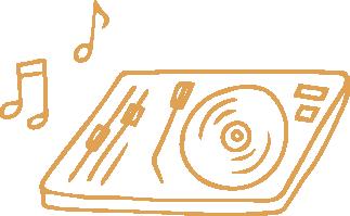 Pictogramme représentant une platine diffusant de la musique