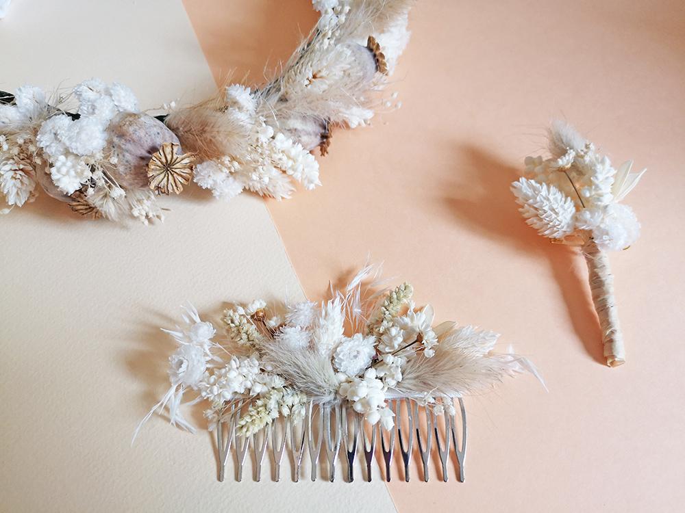 création accessoire fleuri mariage