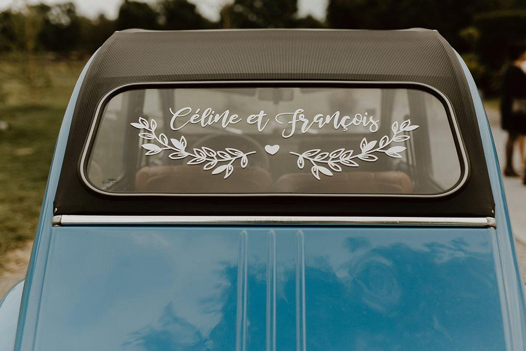 Impression stickers voiture mariage
