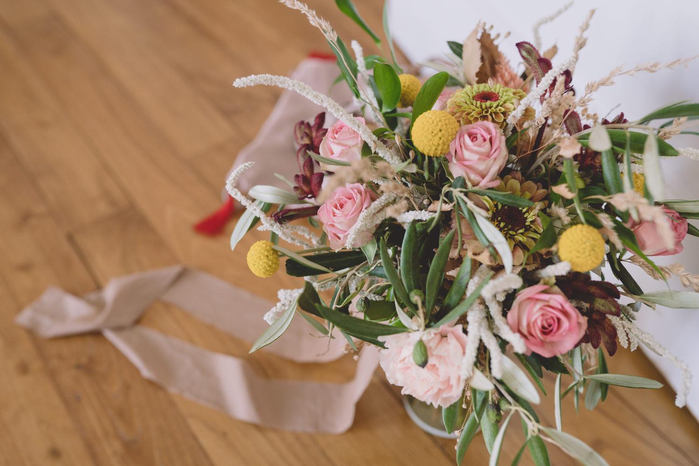 Bouquet de mariée champêtre style bohème