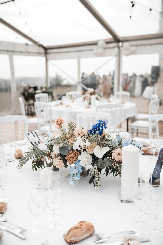 Centre de table fleuri évanescent modern mariage nantes