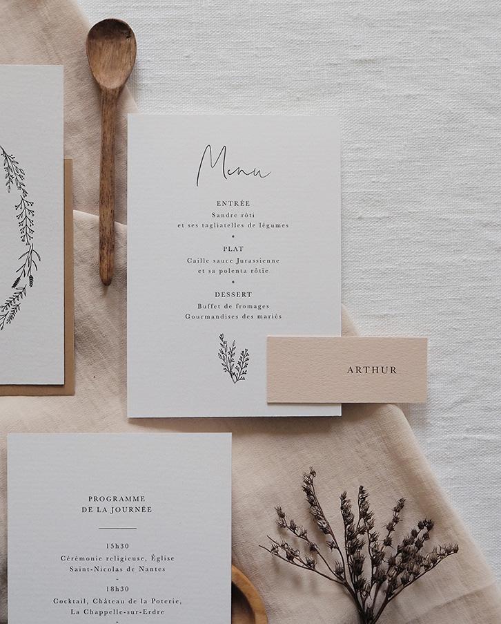 menu papeterie mariage