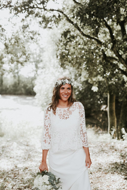 bouquet de mariee et couronne épurée blanc
