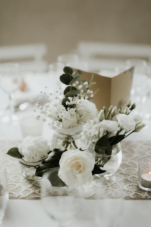 centre de table fleuri bouquet mariage blanc