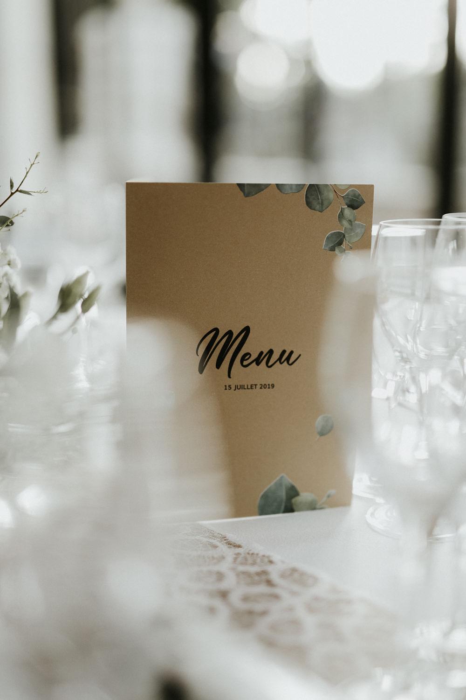 menu mariage boheme chic