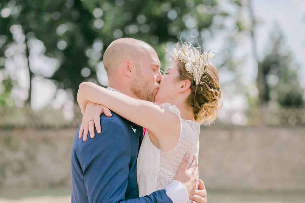 Mariage boheme chic Angers couronne de fleurs sèches