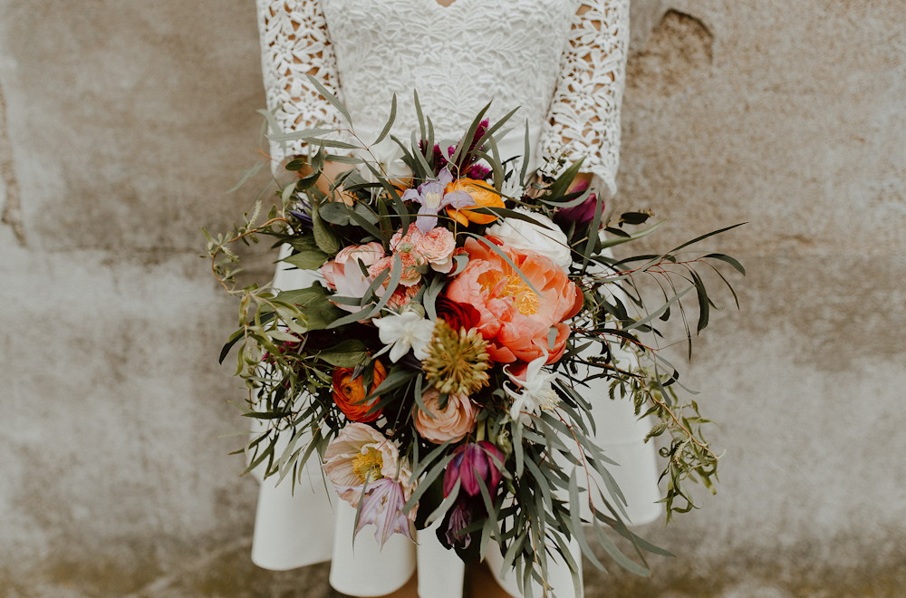 Bouquet de mariée acidulé et colore