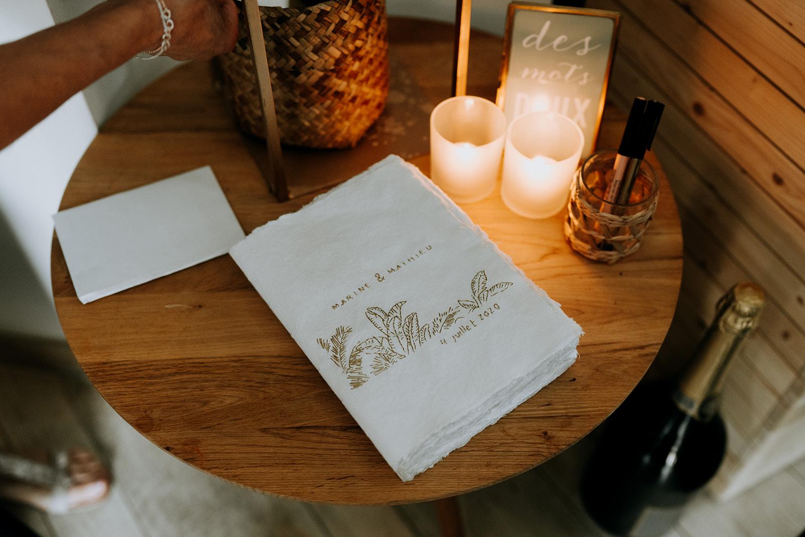 livre d'or chic élégant mariage pays de la loire décoratrice