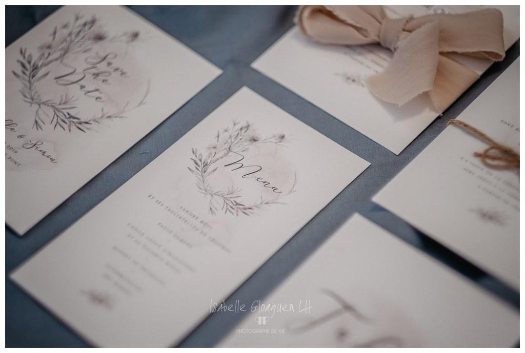 Faire part champêtre boheme chic fleurs mariage fait main