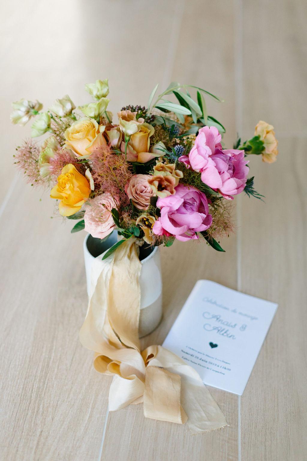 bouquet de mariage moderne boheme colore nantes