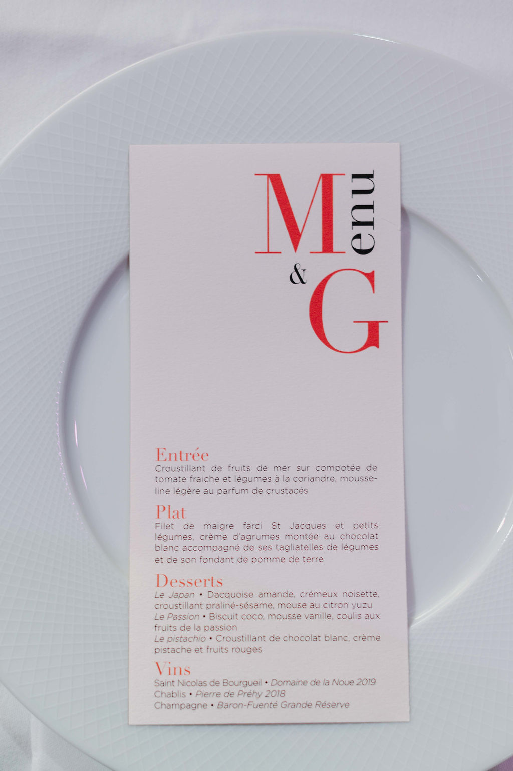 menu mariage automnal vendee