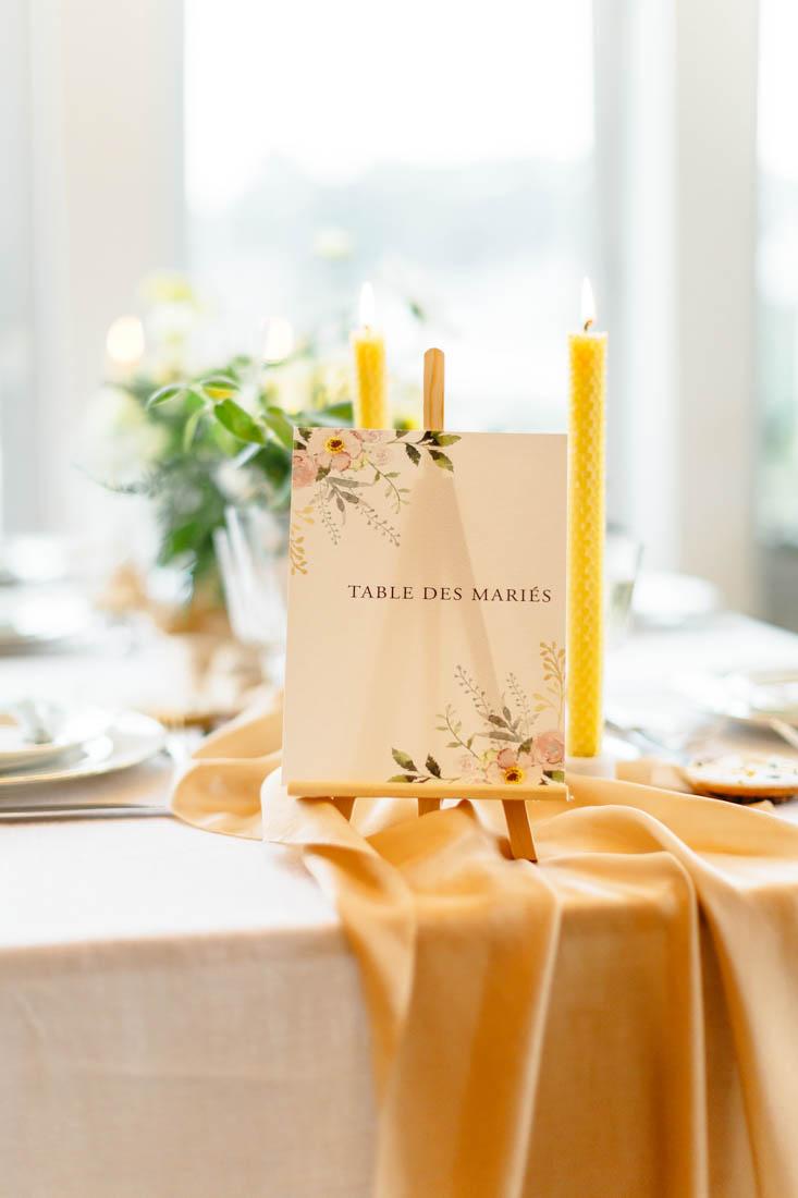 papeterie de mariage numéro de table