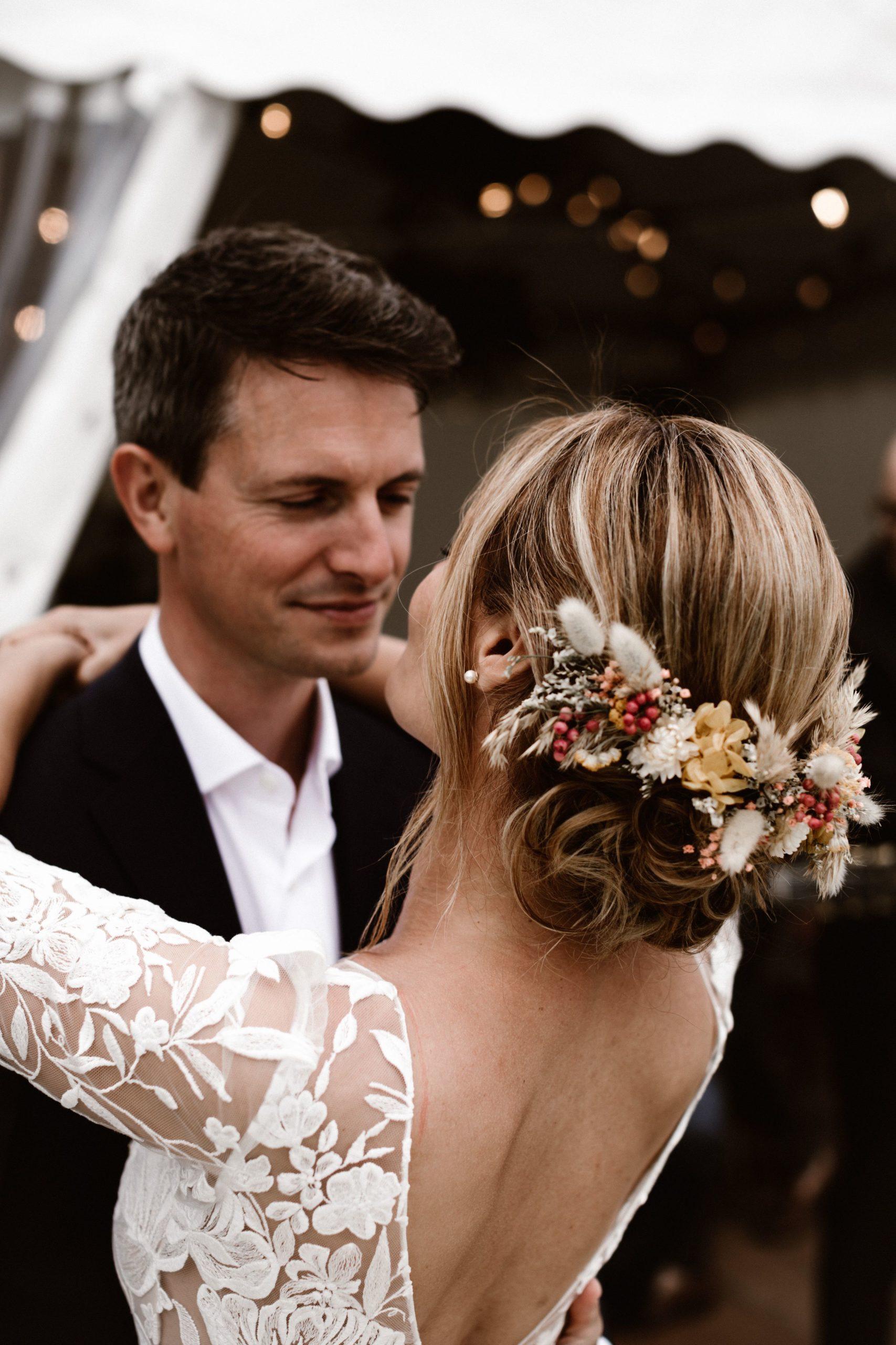 peigne en fleurs séchées mariée nantes