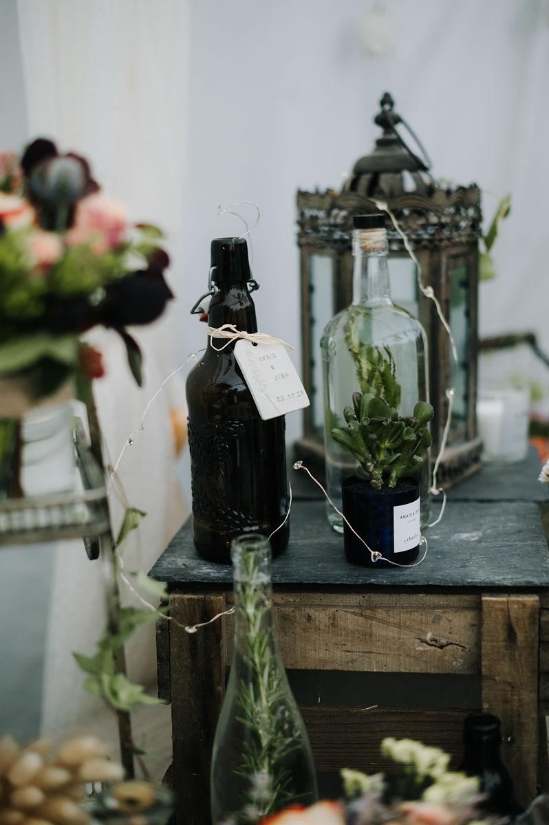 vin alccol mariage fleurs