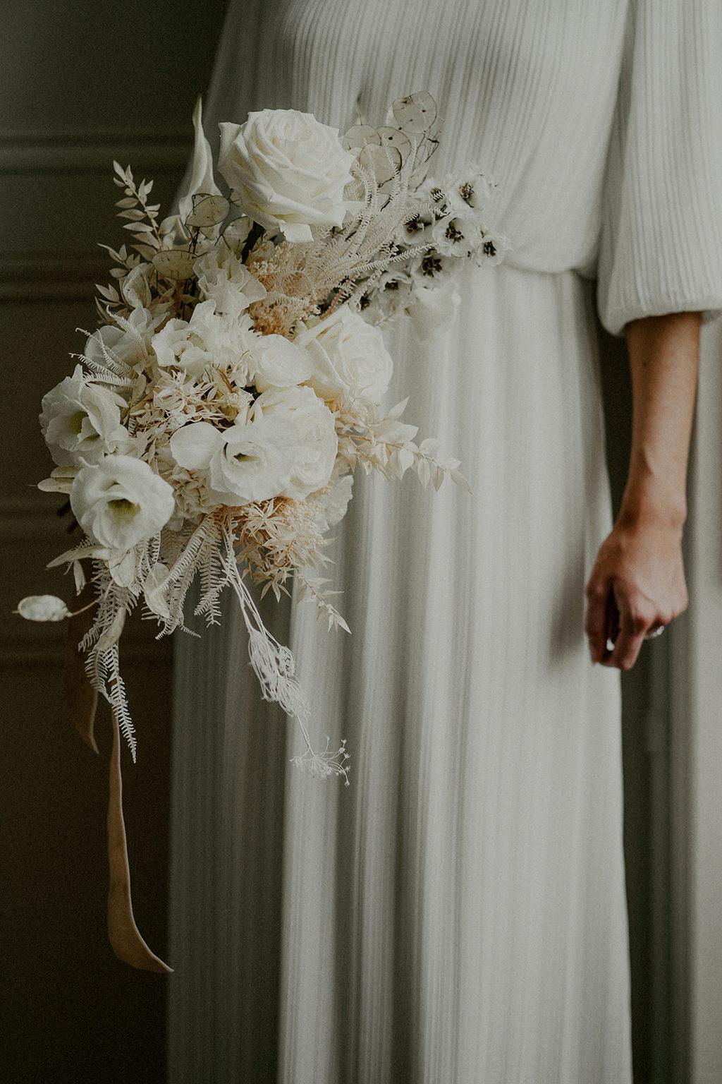 bouquet de mariage simple epure blanc nantes