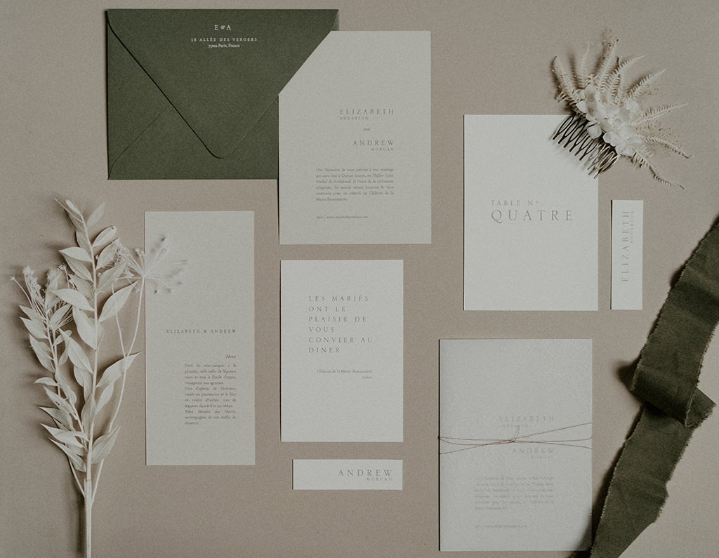 inspiration papeterie mariage epure
