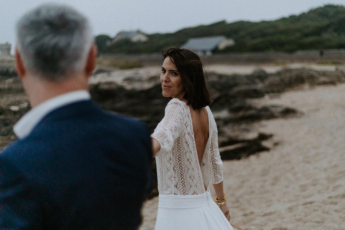 maries plage le croisic robe dentelle blanche