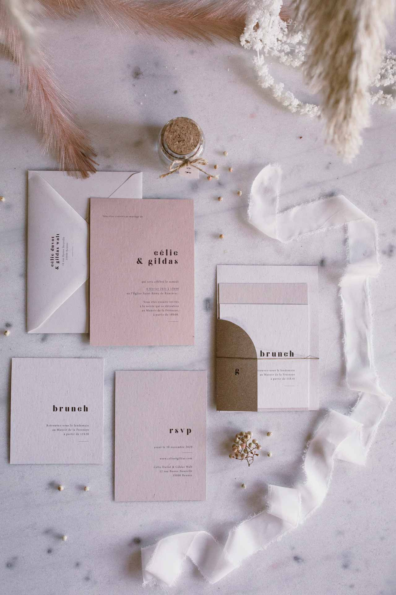mariage hivernal papeterie simple poetique