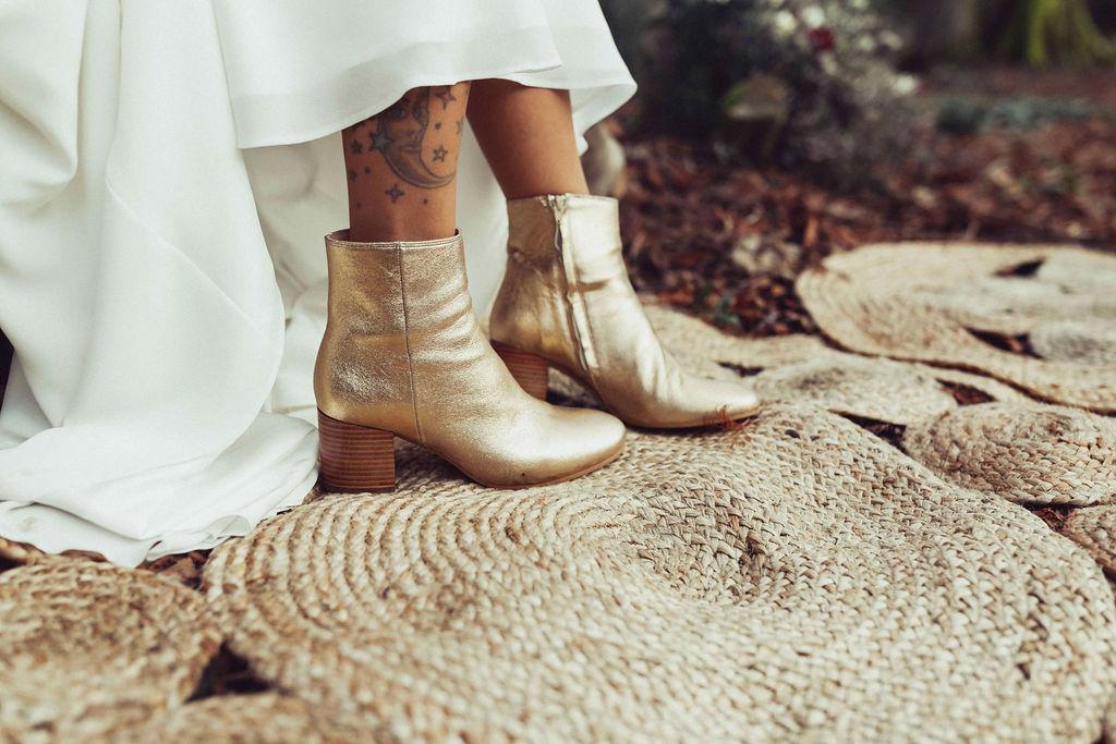 acessoires mariage hivernale robe dentelle bottines