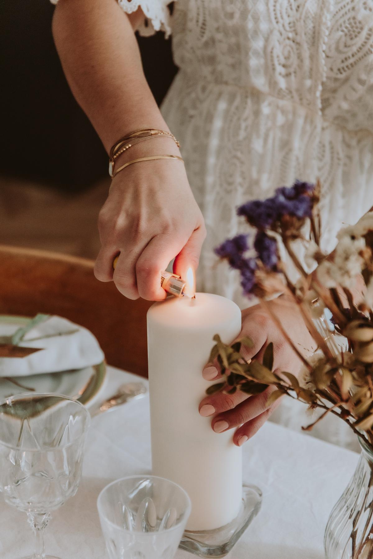 mariage boheme bougie fleurs