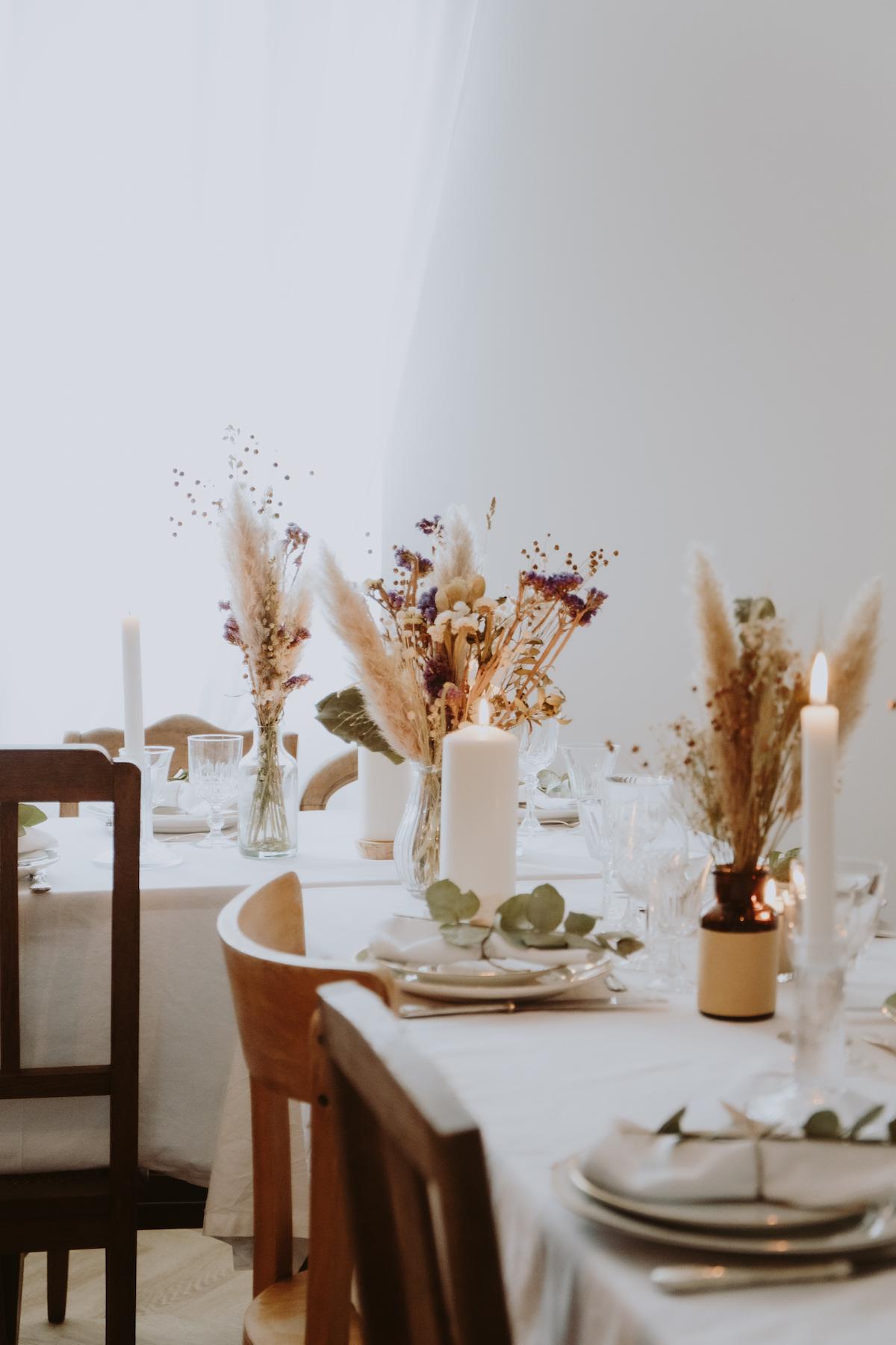 mariage boheme decoration florale tables