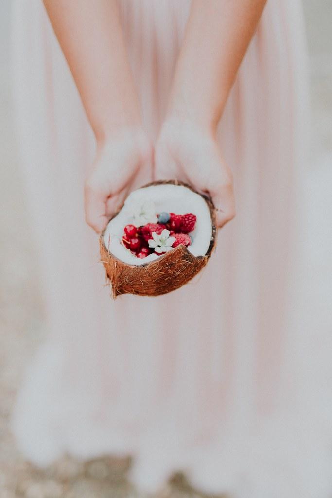 noix de coco mariage boheme moderne details