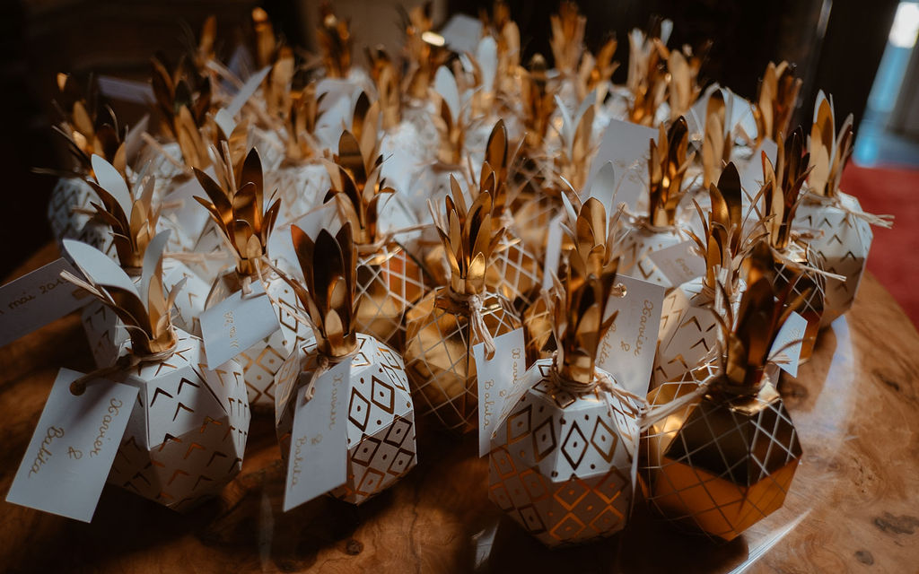 cadeaux invites mariage franco-indien dore blanc